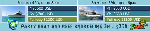 price for party boat snorkeling fishing in punta cana