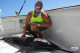 Jhohana with Blue Marlin deep sea fishinig in Punta Cana 2016 season for catching billfish
