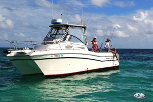inshore bottom fishing close to reef Punta Cana catamaran