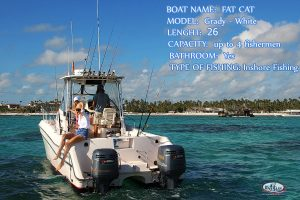 catamaran boat for bottom fishing in Punta Cana