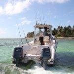 bottom fishing catamaran fat cat fly fishing Punta Cana exprience