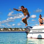 party boat catamaran for snorkeling and relaxing